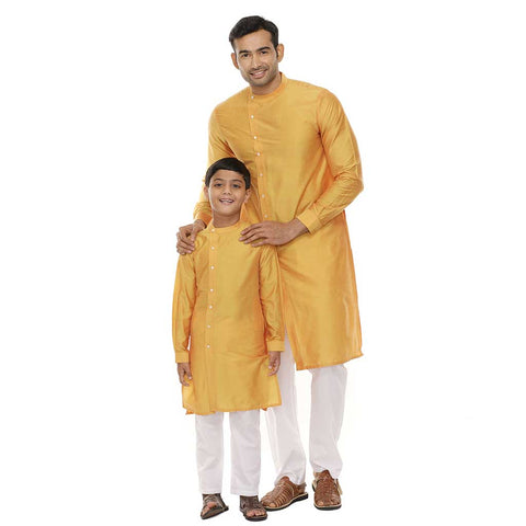 Mandarin collar yellow long kurta with white pyjama set for father-son