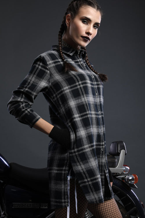 Bold Black Matching Plain Shirt And Checkered Shirt Dress For Him And Her