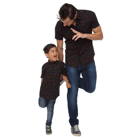Guitar Print Black Half Sleeve Shirt For Father-Son
