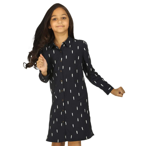 Navy Blue Feather Print Shirt Dress  for daughter