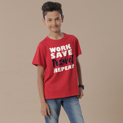 Work Save Travel Repeat, Matching Family Travel Tees For Boy