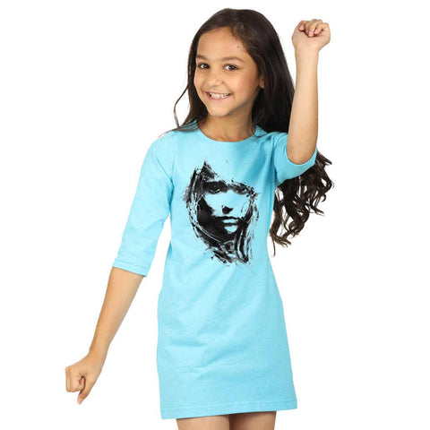 Aqua blue high slit long knitted top for mom daughter dresses for daughter