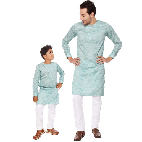 Stylised placket pastel green kurta with white pyjama set for father-son