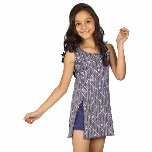 Navy blue front slit printed long top for mom & daughter for daughter