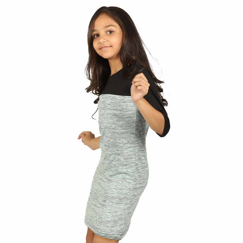 Pastel olive green yoke knitted dress for mom daughter