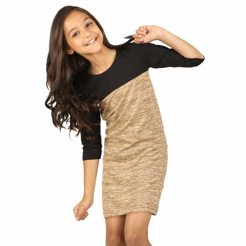Pastel brown yoke knitted dress for mom daughter for daughter