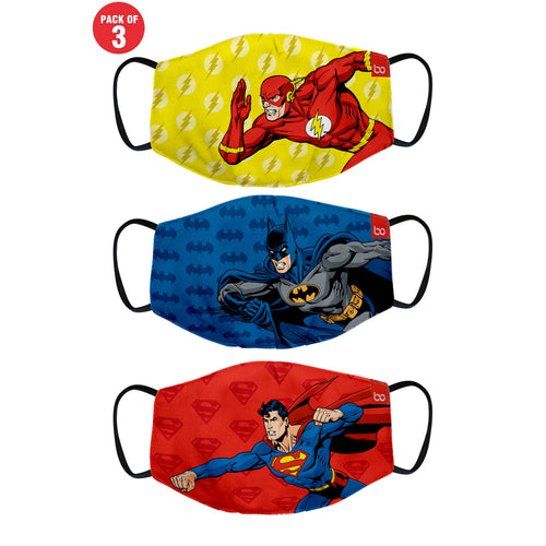 Superman Batman and Flash Printed Protective Kids Masks ( Set Of 3)