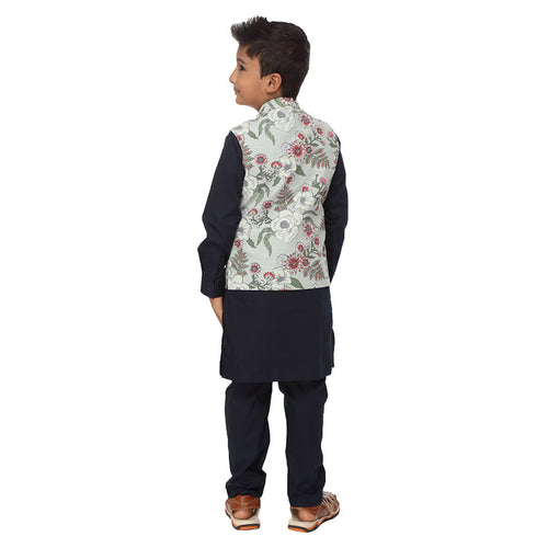 Floral tropical print off-white bandi with navy blue kurta and pyjama set for father-son