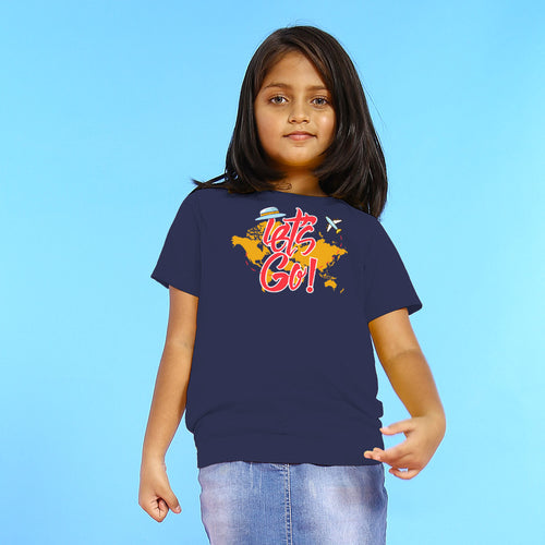 Let's Go, Matching Navy Blue Travel Tees For Girl