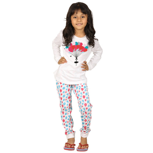 Balloon Print Knitted Nightwear Set For Mom & Daughter For Daughter