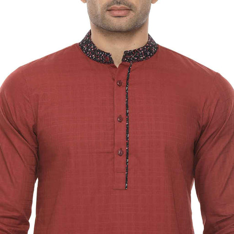 Maroon kurta with contrast floral print collar & white pyjama set for father-son