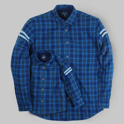 Team Awesome Indigo Blue Full Sleeve Shirt For Father-Son