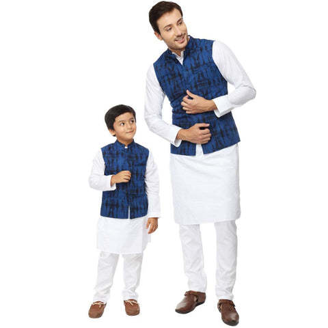 Blue Tie and dye print bandi with white kurta pyjama set for father-son