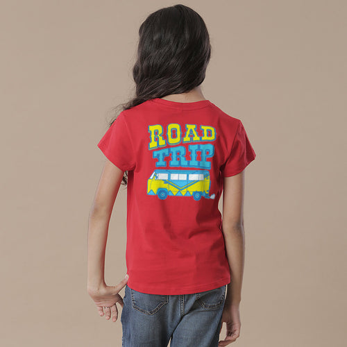 Road Trip, Matching Red Travel Tees For Girl