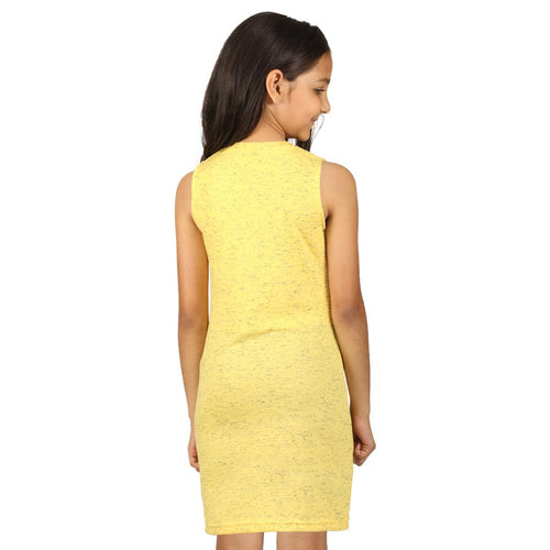 Yellow front slit long knitted top for mom daughter