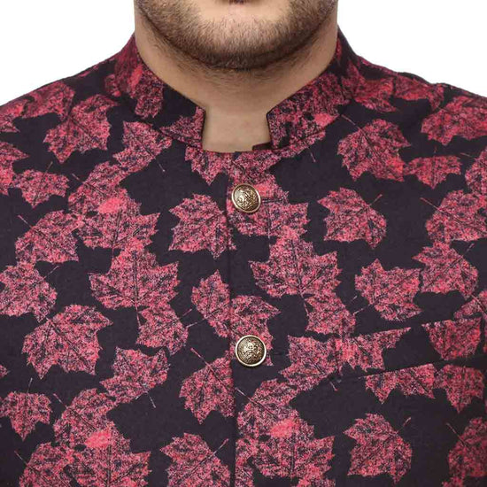 Leaf print wine red bandi and kurta with white pyjama set for father-son