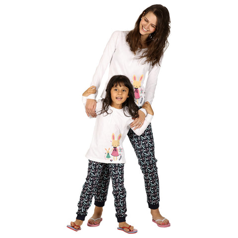 Bow Print Knitted Nightwear Set For Mom & Daughter