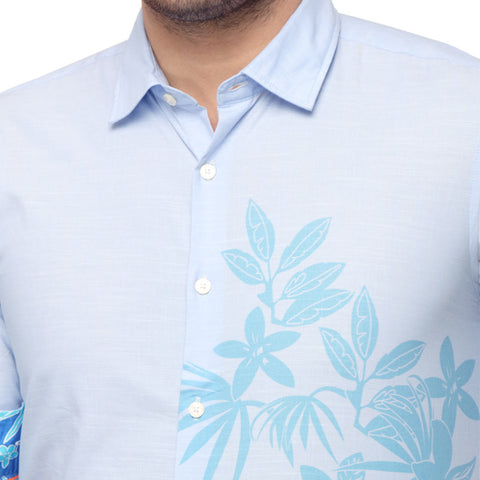 Tropical print light blue dad and son shirt