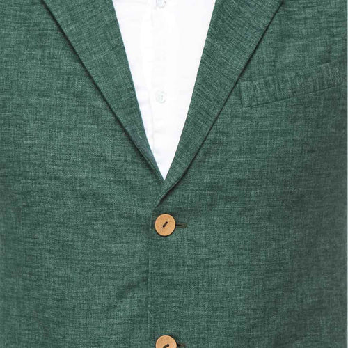 Green wooden button notch lapel waist coat with white cotton satin shirt set for father-son