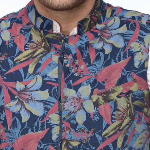 Printed Mandarin collar Bandi with linen pink shirt set for father son
