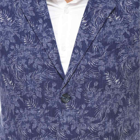 Printed blue notch lapel waist coat with white cotton satin shirt set for father-son
