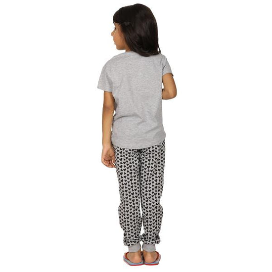 Heart Print Knitted Nightwear For Girl