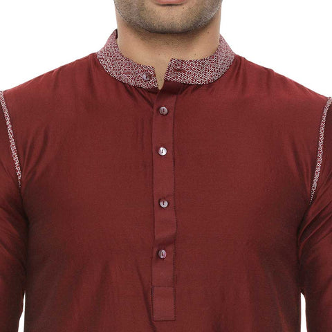 Wine Red Kurta With White Pyjama Set For Father-Son