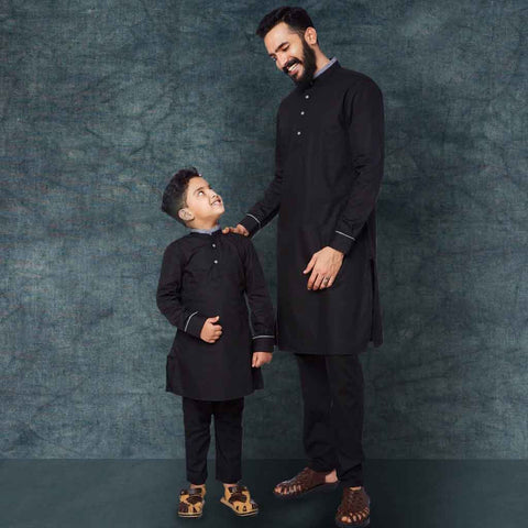 Black contrast collar and cuff kurta/pyjama set for father son