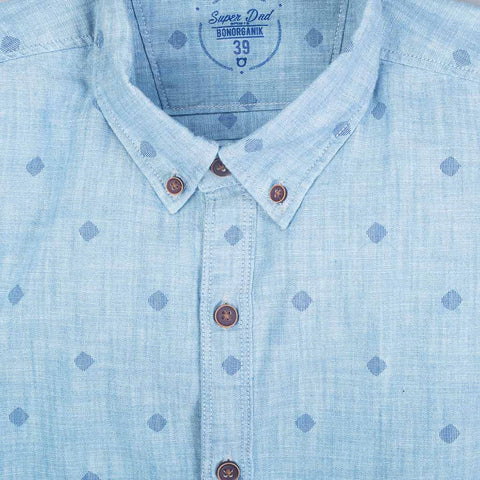 Light blue washed denim printed shirt for father son