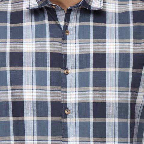 The Rolling Paper 08 Navy Checks Full Sleeve Shirt For Father-Son