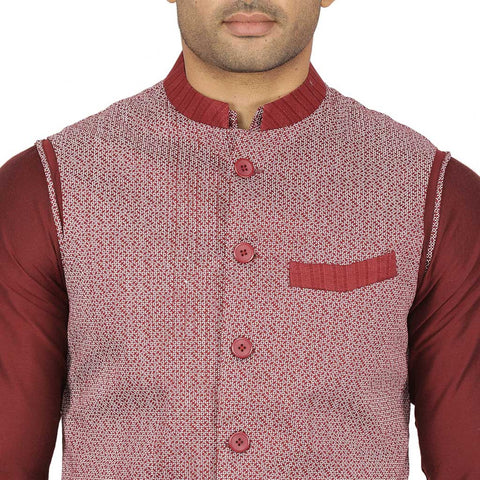 Wine red kurta with printed bandi & white pyjama for father-son