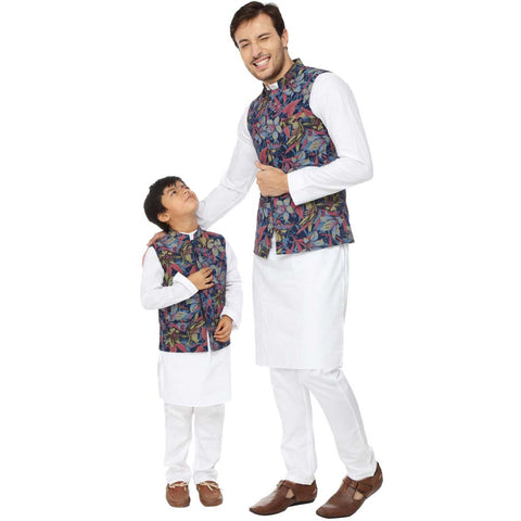 Floral tropical print navy blue bandi with white kurta pyjama set for father-son