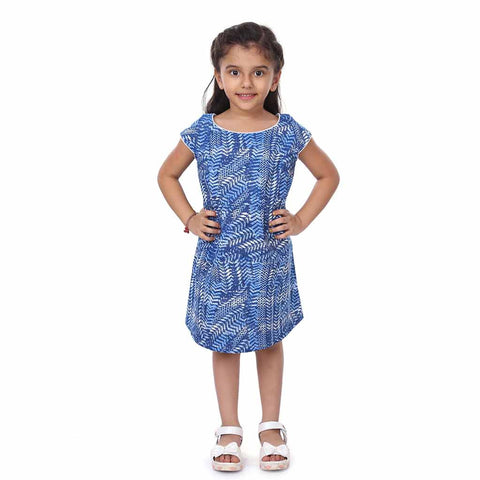 Mother-Daughter Blue Printed Shift dress