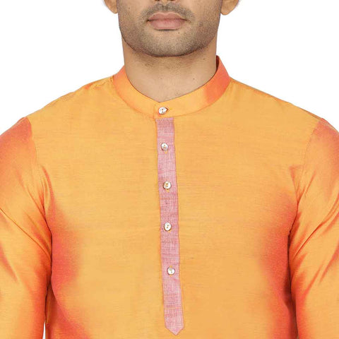 Contrast placket orange kurta & pyjama set for father-son