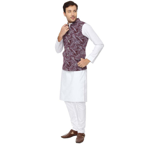 Tropical Print Grey & Maroon Bandi White Kurta Pyjama Matching Set For Dad & Son