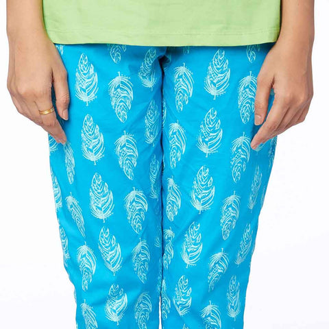 Sea blue Blue feather print Pyjamas Only