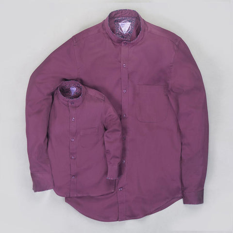 Purple Cotton Satin Mandarin collar Shirt for father son