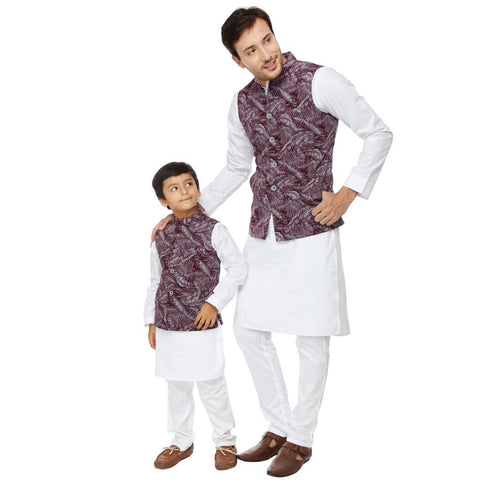 Tropical print grey and maroon bandi with white kurta pyjama set for father-son