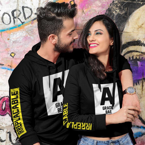 A Grade Bae/Beau, Matching Black Hoodie For Men And Crop Hoodie For Women