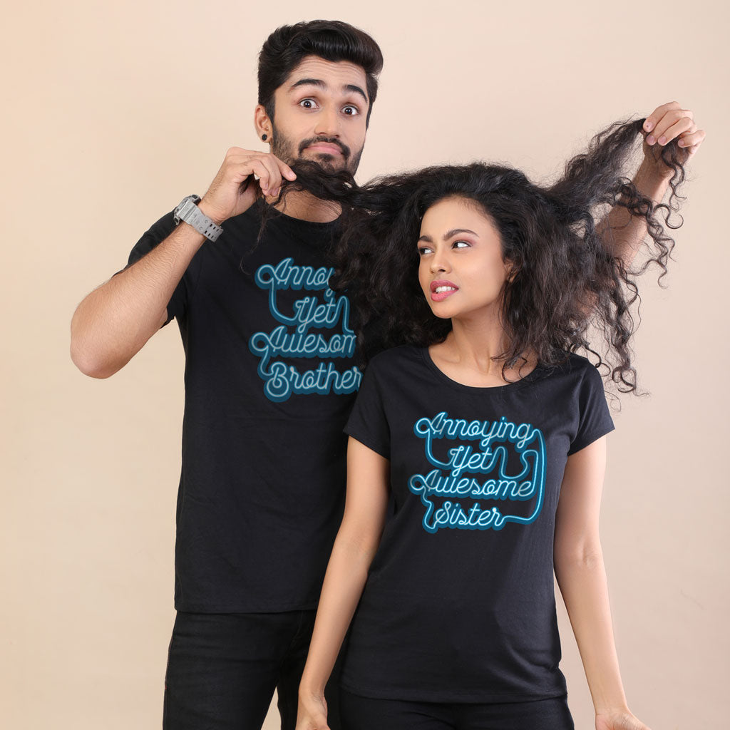 4076ffa0 Brother and Sister Matching Tees - Black Colour - BonOrganik.in