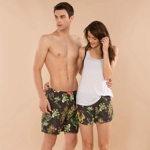 Green Tropical Print Matching Cotton Couple Boxers