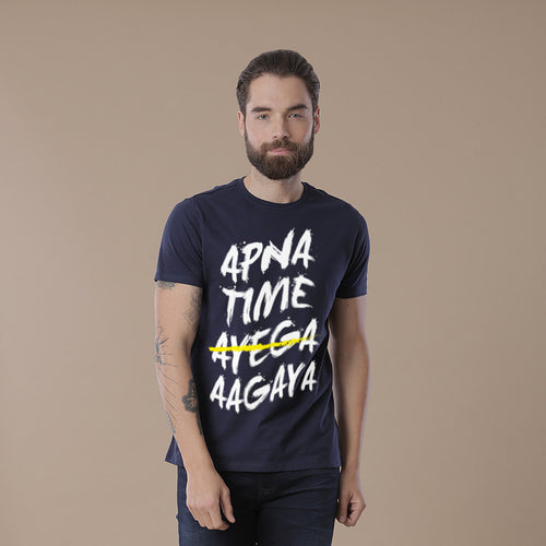 Apna Time Aagaya Matching Navy blue Dad and Son Tees
