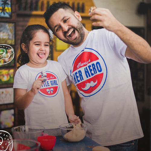 Her Hero/Little Girl, Matching Dad And Daughter Tees