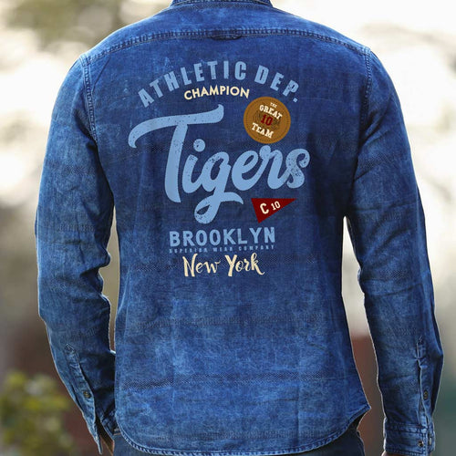 Tigers, Matching Blue Denim Shirts For Dad And Son