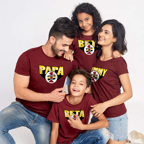 Papa No.1 Mummy No.1 Matching Tees For Family