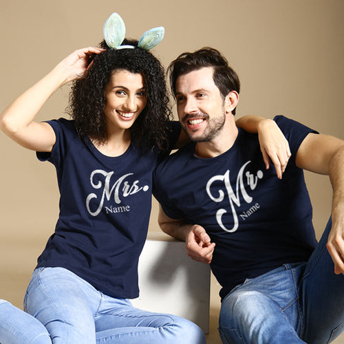 Mr and Mrs, Matching Customisable Couples Tees