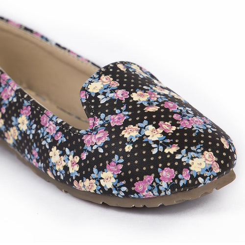 Floral Black Matching Ballerinas For Daughter