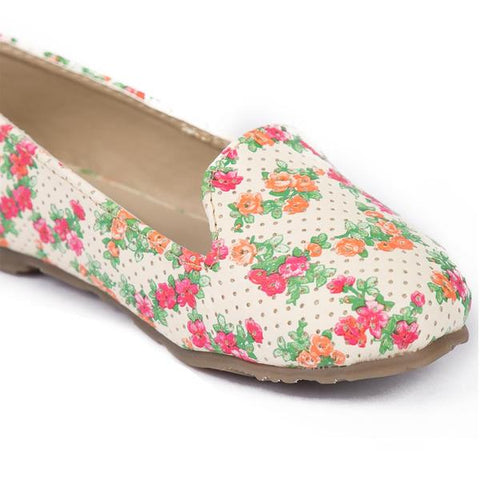 Floral White Matching Ballerinas For Daughter