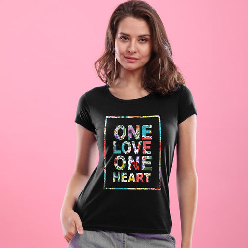 One Heart, One Love Matching Couple Tees For Women