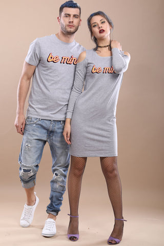 Be Mine, Matching Tee And Cold Shoulder Dress For Him And Her